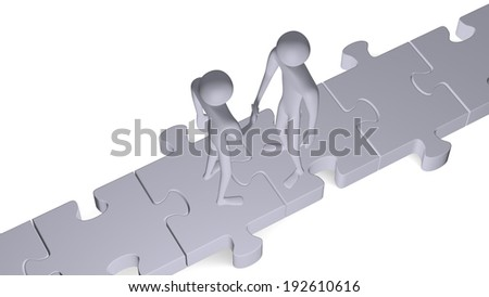 Grey 3d people standing on puzzles shaking hands isolated on white - stock photo