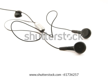 Grey earphones isolated on white