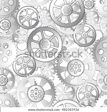 grey gears on a white background, seamless pattern illustration
