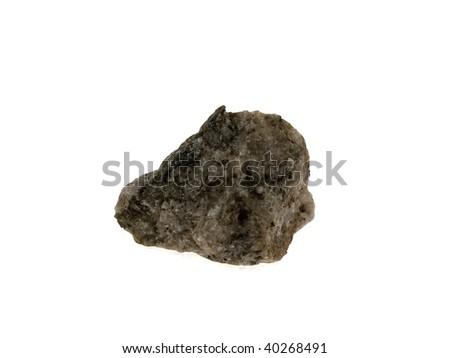 Grey granite stone isolated on a white background - stock photo
