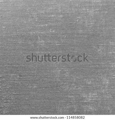Grey Grunge Linen Texture, Gray Textured Burlap Fabric Background Macro Canvas Copy Space - stock photo