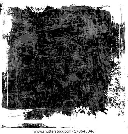 Grey grunge textured wall. White grunge frame. - stock photo