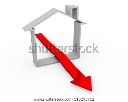 Grey house and red arrow on a white background