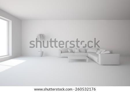 grey interior design-3D rendering - stock photo