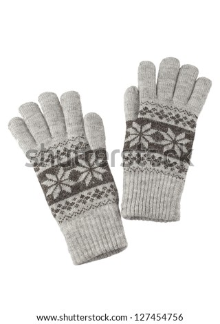 Grey knitted winter gloves isolated on white background - stock photo