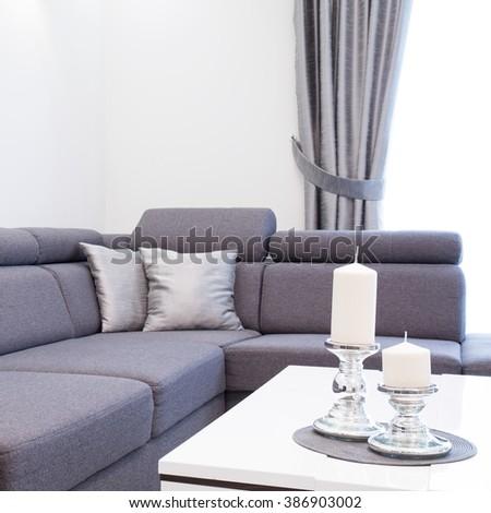 Grey living room - stock photo