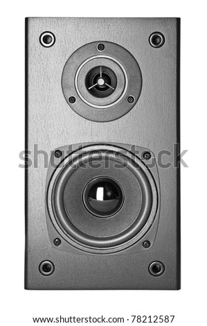 Grey Loud Speakers Isolated on White Background - stock photo