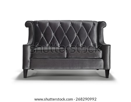 Grey Luxurious sofa with shadow isolated on white background  - stock photo