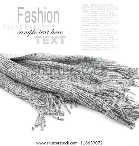 Grey Male Scarf isolated on white - stock photo