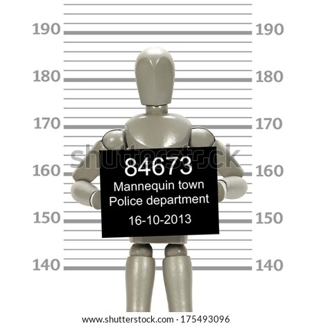 Grey mannequin posing in mugshot - stock photo