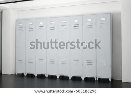 grey metal lockers in lockers room extreme closeup 3d rendering - Metal Lockers