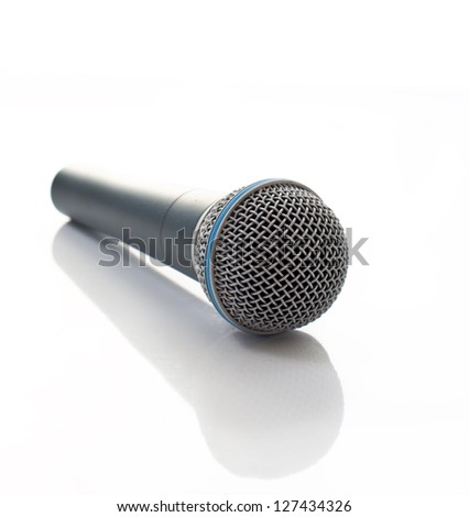 Grey microphone isolated on white - stock photo