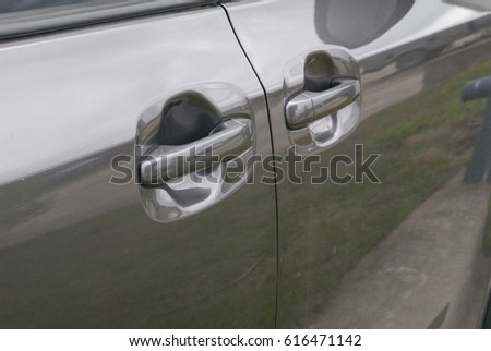 Grey Mini Van door handles