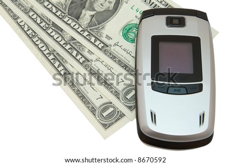 Grey mobile phone and dollars on white - stock photo