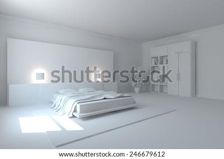 grey modern bedroom concept-3D rendering - stock photo