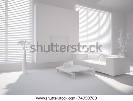 grey modern interior - stock photo