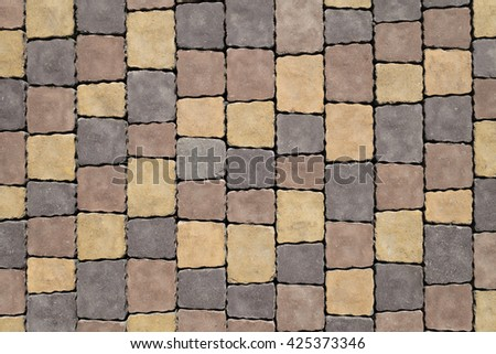 Grey modern tiled pavement background texture close up - stock photo