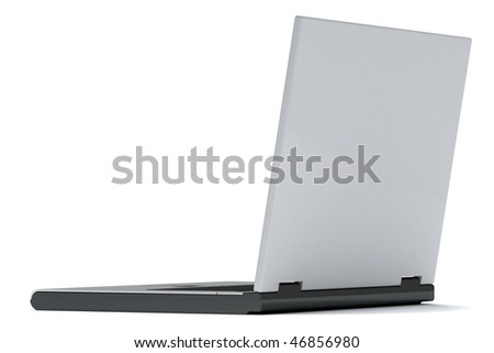Grey notebook isolated on white background. Back view - stock photo