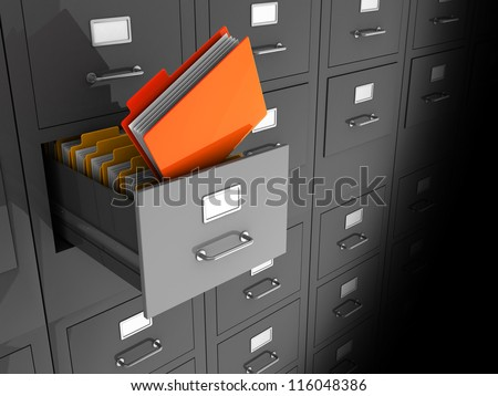 Grey office wall of files with important information in front - stock photo