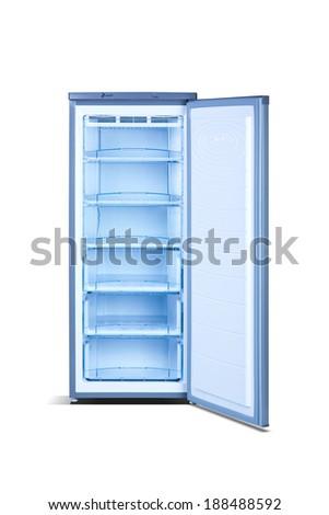 Grey open freezer - stock photo