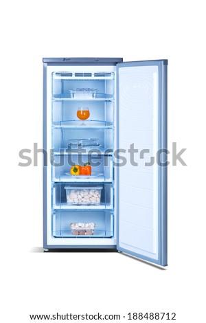 Grey open freezer with food - stock photo