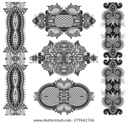 grey original hand draw line art ornate flower design. Ukrainian traditional style, black and white collection, raster version  - stock photo