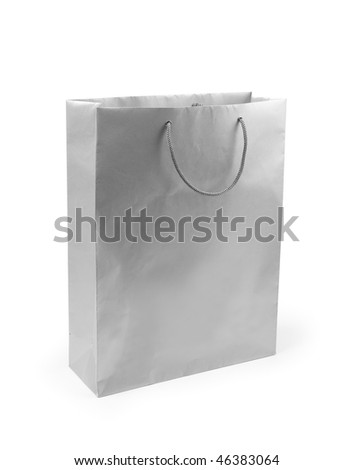 grey paper bag on a white background