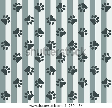 Grey Paws & Stripes Pattern - stock photo