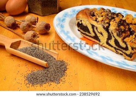 grey poppy seeds and poppy cake - stock photo