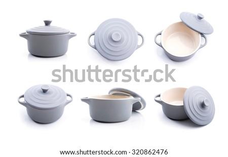 Grey  pot ceramic set on white background. - stock photo