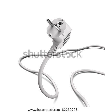 grey power plug - stock photo