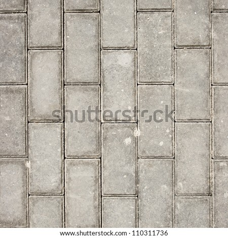 Grey rectangle pavement tiles. Texture background. - stock photo