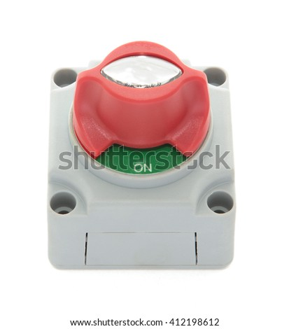 Grey, red and green electric boat disconnect switch in plastic housing isolated on white - stock photo