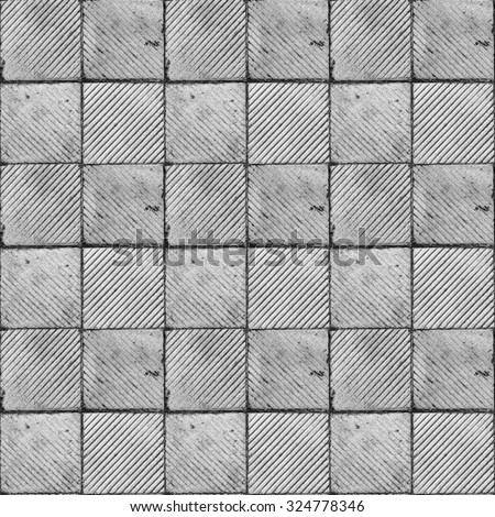 Grey ribbed tile on the floor and wall seamless tiled texture - stock photo
