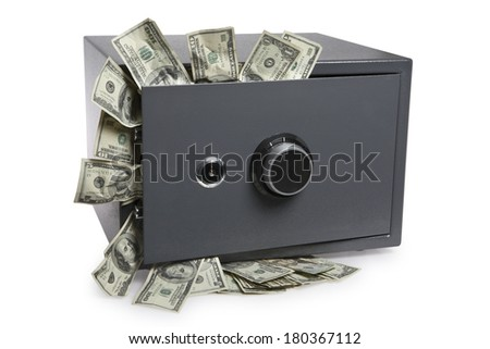 Grey safe with dollar bills spilling out on white - stock photo