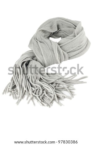 Grey Scarf on white background. - stock photo