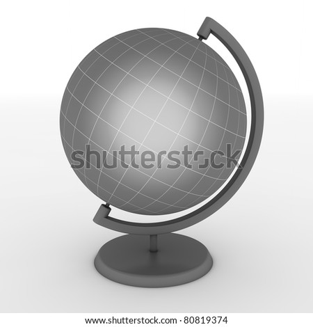 grey school globe with fine hite lines for meridian and latitude