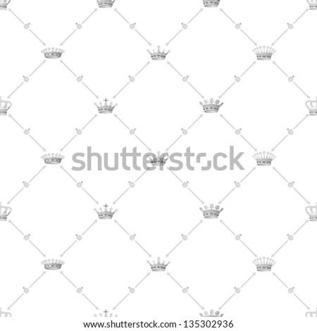 Grey seamless pattern with crown symbol, bitmap copy. - stock photo