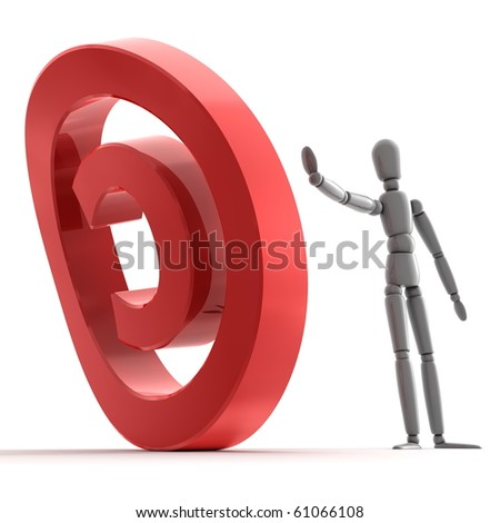 grey shiny person is stopping a shiny glossy red copyright sign - stock photo