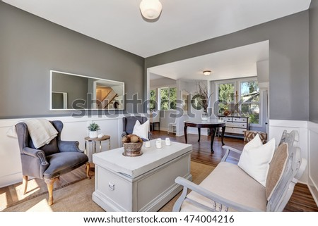 Grey Sitting room interior with vintage furniture and nice decor. Northwest, USA