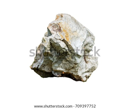 grey stone mineral isolated on white background