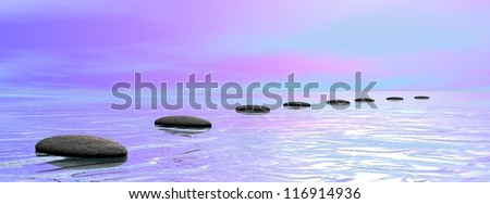 Grey stones steps upon the ocean by pink and blue cloudy sunset sky - stock photo