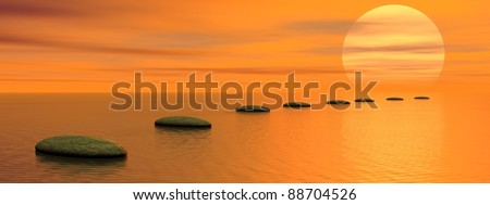 Grey stones steps upon the ocean going to the sun by sunset - stock photo