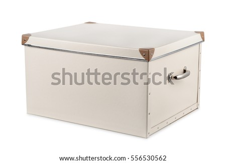 Grey storage box with lid isolated on white