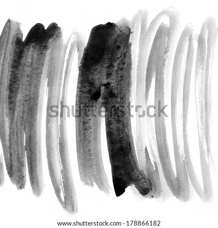 Grey striped watercolor hand drawn texture  - stock photo