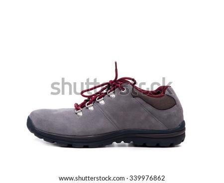 grey suede men shoe isolated on white background - stock photo