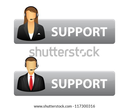 Grey support buttons. Vector available. - stock photo
