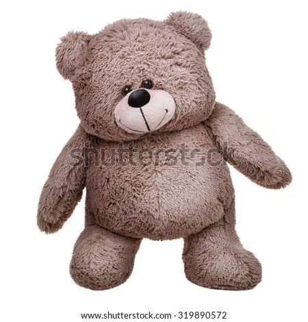 Grey teddy bear. Standing on white background isolated - stock photo
