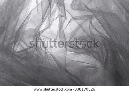 Grey Tulle Fabric Background - stock photo