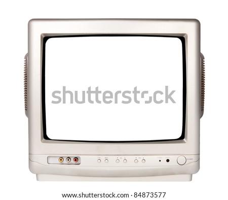 GREY TV on a white background - stock photo